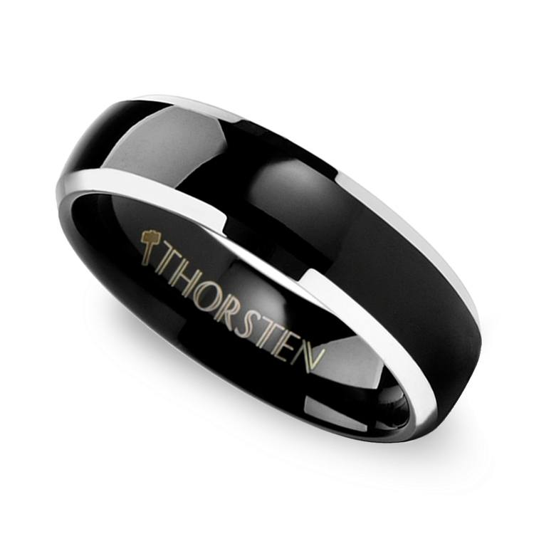 Black Center Men's Wedding Ring with Beveled Edges in Tungsten | 01