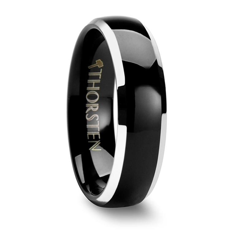 Black Center Men's Wedding Ring with Beveled Edges in Tungsten | 02