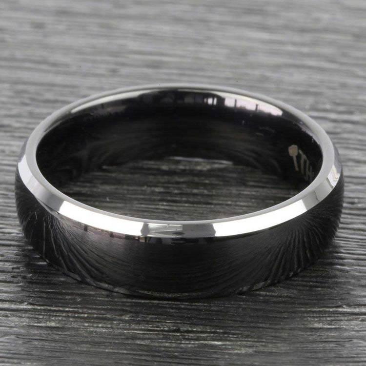 Black Center Men's Wedding Ring with Beveled Edges in Tungsten | 03