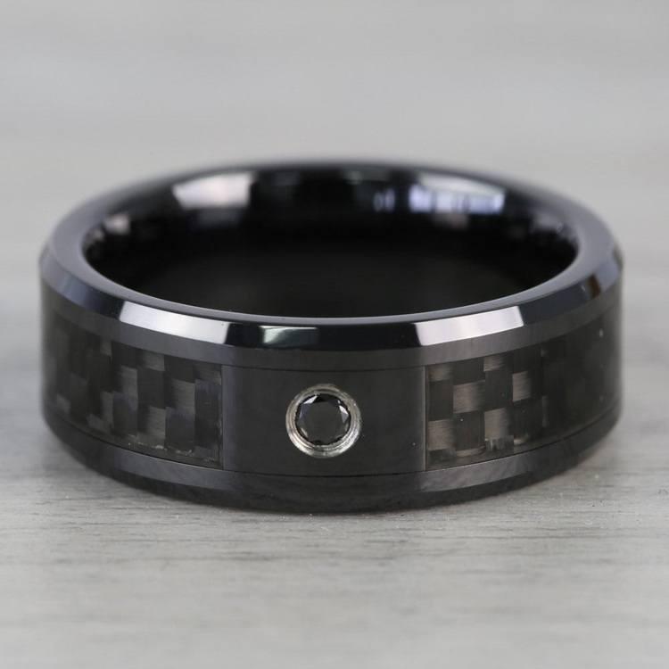 Black Ceramic Carbon Fiber Men's Ring with Black Diamond | 03