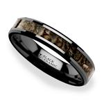 Black Ceramic Dinosaur Bone Inlay Wedding Ring (4mm) | Thumbnail 01