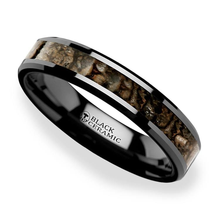 Black Ceramic Dinosaur Bone Inlay Wedding Ring (4mm) | 01