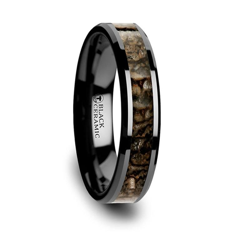 Black Ceramic Dinosaur Bone Inlay Wedding Ring (4mm) | 02