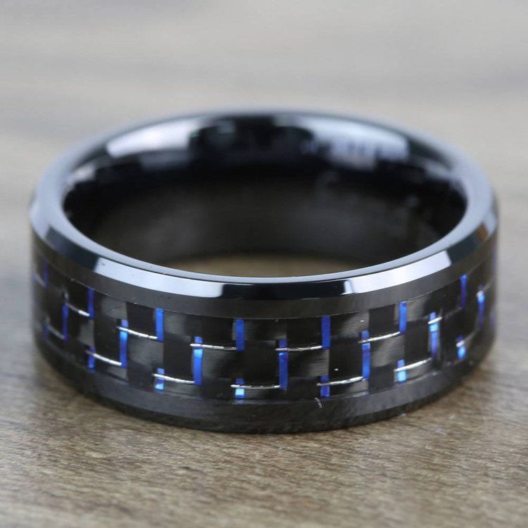 Black Ceramic Men's Ring with Blue & Black Carbon Fiber Inlay (8mm)  | 03