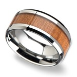 Cherry Wood Inlay Men's Beveled Wedding Ring in Tungsten (10mm) | Thumbnail 01