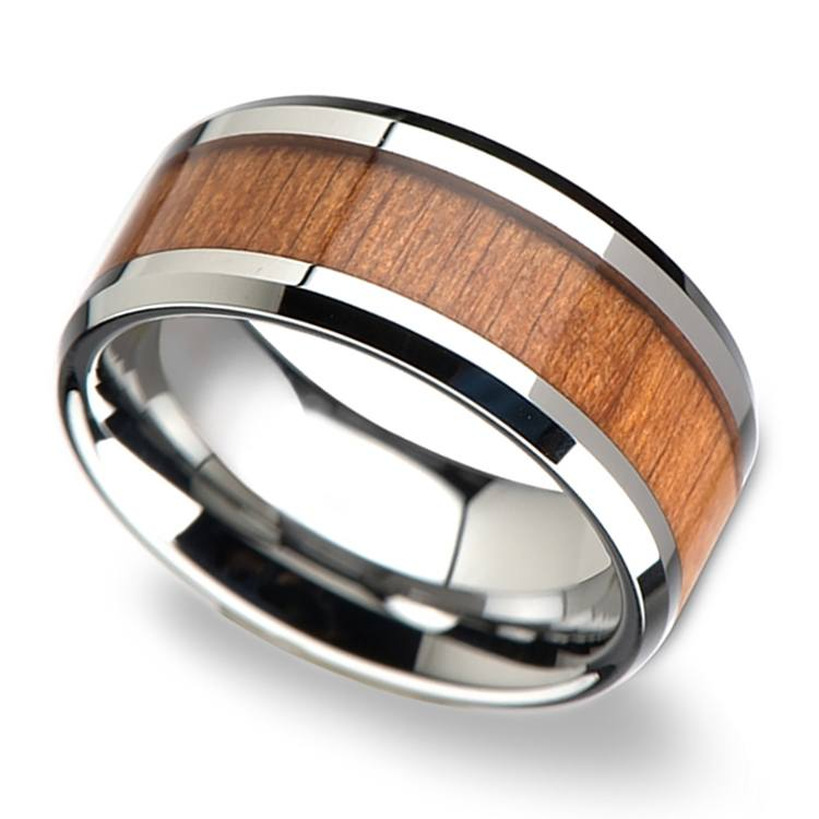 Washington - 10mm Beveled Tungsten Mens Band with Cherry Wood Inlay | 01