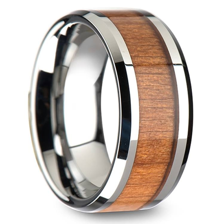Washington - 10mm Beveled Tungsten Mens Band with Cherry Wood Inlay | 02