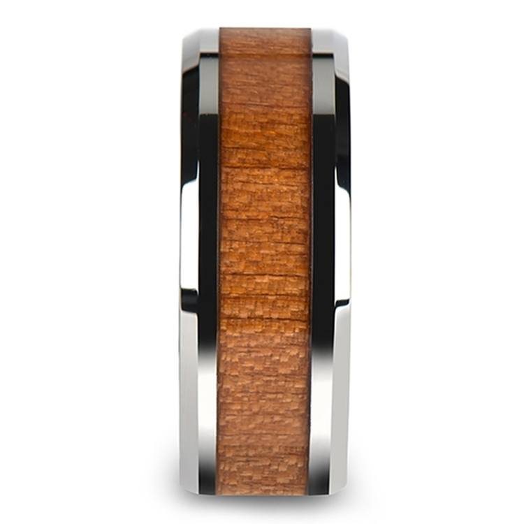 Washington - 10mm Beveled Tungsten Mens Band with Cherry Wood Inlay | 03