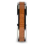 Cherry Wood Inlay Men's Beveled Wedding Ring in Tungsten (6mm) | Thumbnail 03