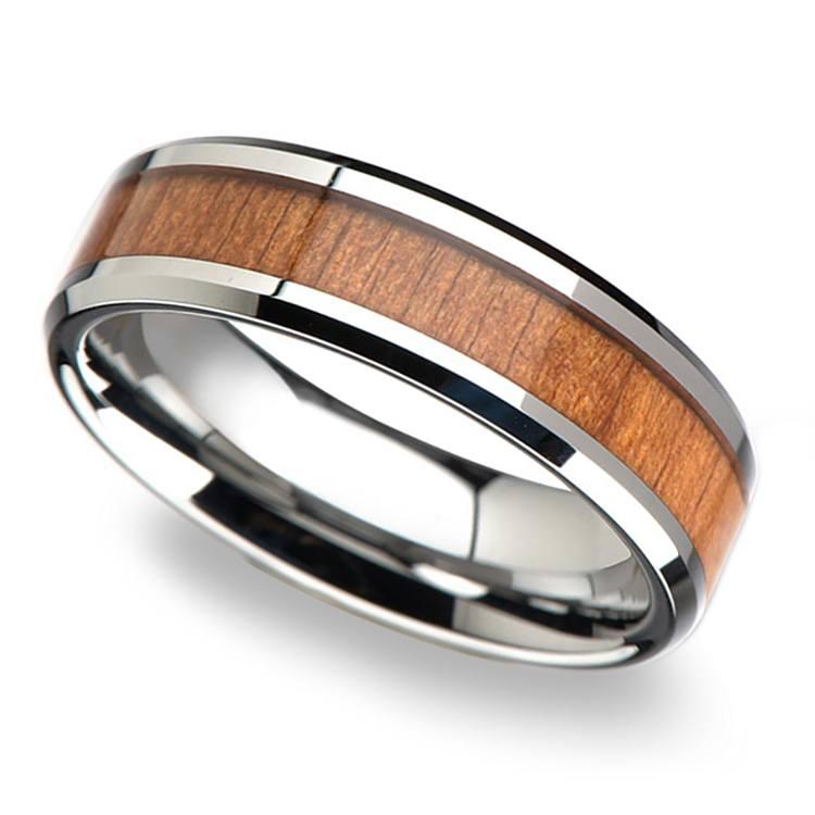 Cherry Wood Inlay Men's Beveled Wedding Ring in Tungsten (6mm) | 01