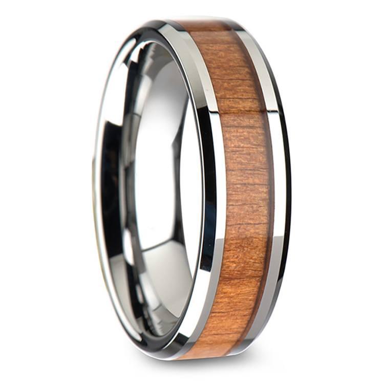 Cherry Wood Inlay Men's Beveled Wedding Ring in Tungsten (6mm) | 02