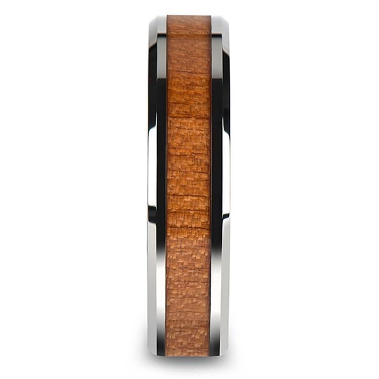 Cherry Wood Inlay Men's Beveled Wedding Ring in Tungsten (6mm) | 03