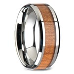 Cherry Wood Inlay Men's Beveled Wedding Ring in Tungsten (8mm) | Thumbnail 02