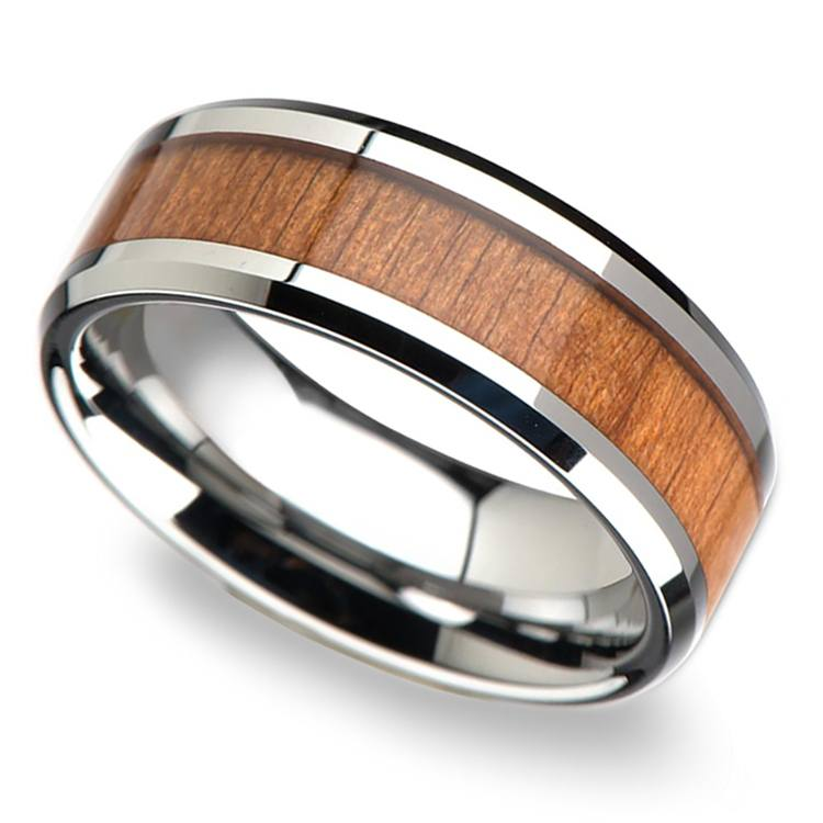 Cherry Wood Inlay Men's Beveled Wedding Ring in Tungsten (8mm) | 01