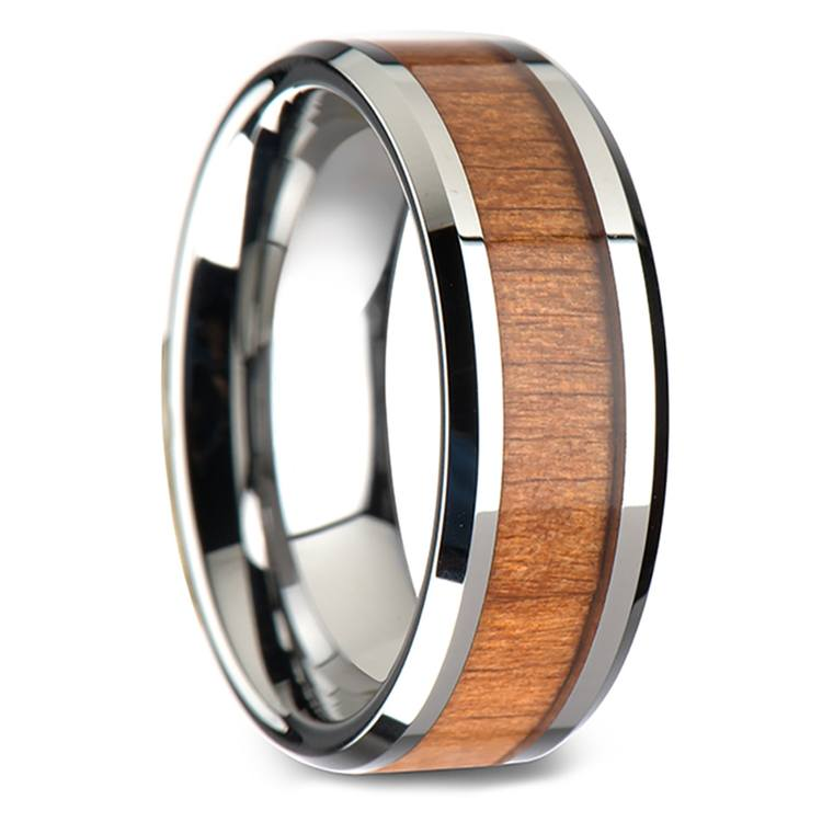 Cherry Wood Inlay Men's Beveled Wedding Ring in Tungsten (8mm) | 02