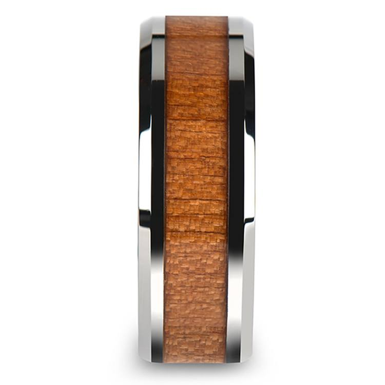 Cherry Wood Inlay Men's Beveled Wedding Ring in Tungsten (8mm) | 03