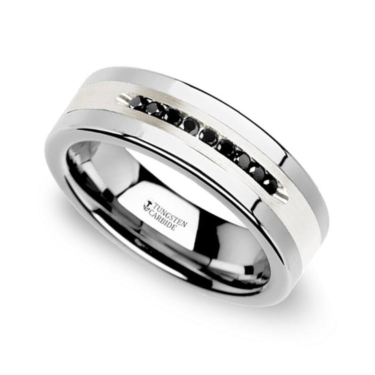Mens Wedding Bands Tungsten.Men S Black Diamond Channel Wedding Ring In Tungsten