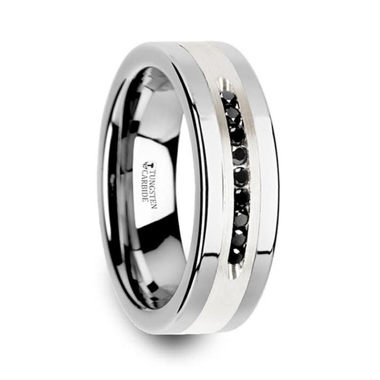 Men's Black Diamond Channel Wedding Ring in Tungsten | 02