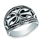 Black Diamond Cross Men's Wedding Ring in Cobalt | Thumbnail 02