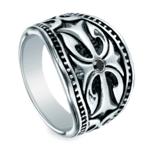 Black Diamond Cross Men's Wedding Ring in Cobalt | Thumbnail 01