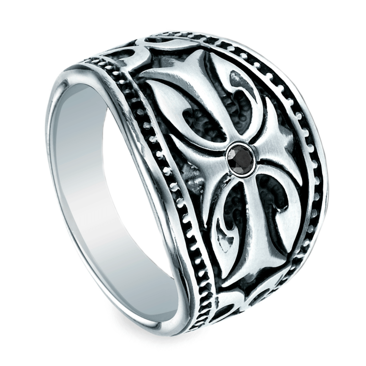 Black Diamond Cross Men's Wedding Ring in Cobalt | 01