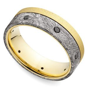 Emperor - Meteorite Mens Band with Black Diamonds