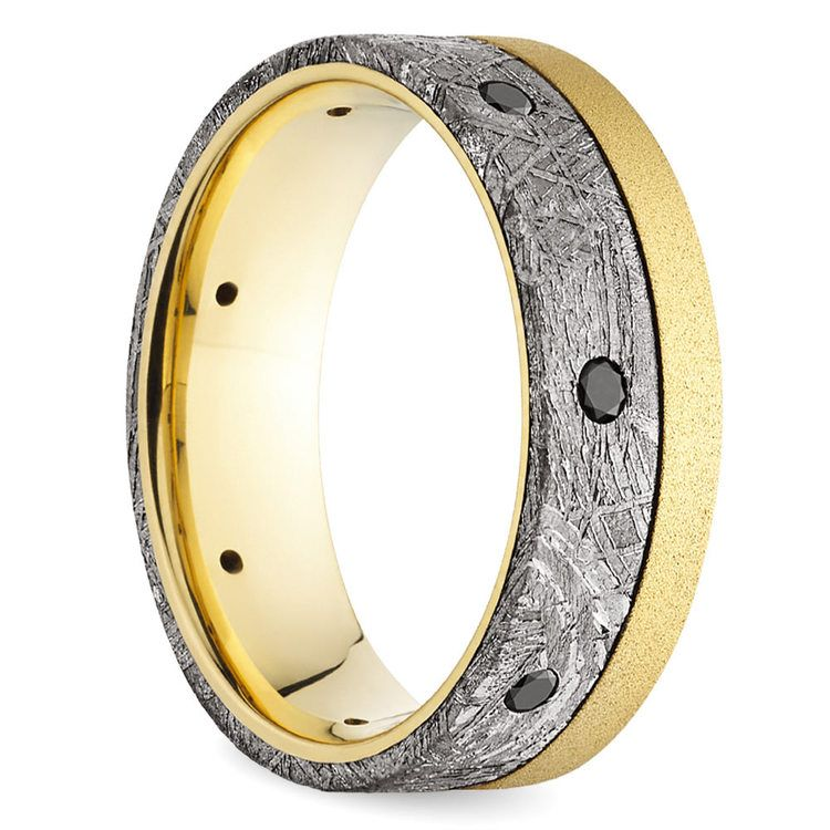 Emperor - Meteorite Mens Band with Black Diamonds | 02