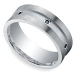 Black Diamond Men's Wedding Ring in Silver (8mm) | Thumbnail 01