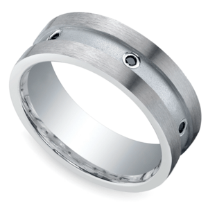 Black Diamond Men's Wedding Ring in Silver (8mm)