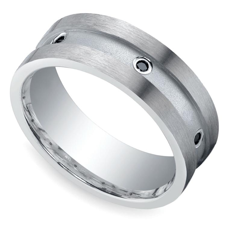 Black Diamond Men's Wedding Ring in Silver (8mm) | 01