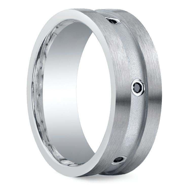 Black Diamond Men's Wedding Ring in Silver (8mm) | 02