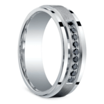 Black Diamond Men's Silver Wedding Ring  | Thumbnail 02