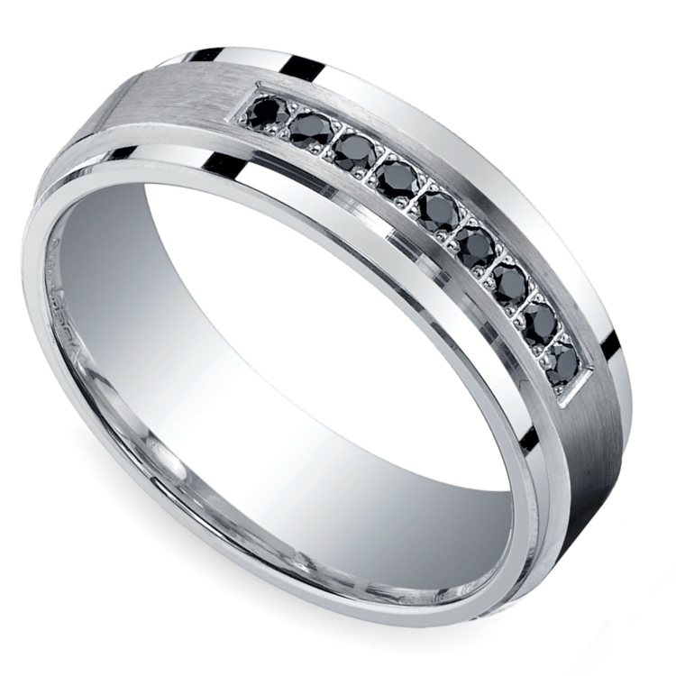 Black Diamond Men's Silver Wedding Ring  | 01