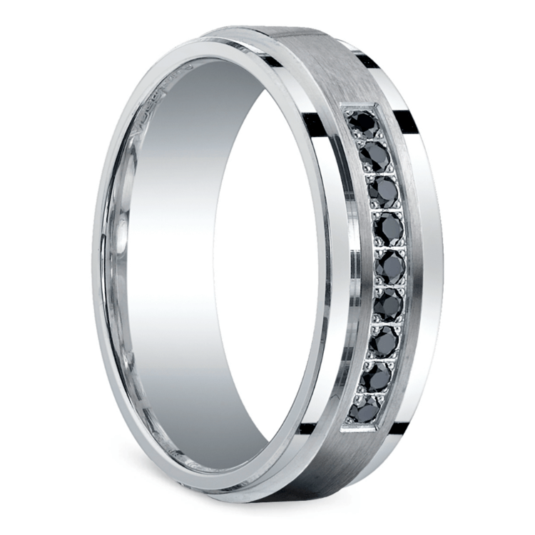 Black Diamond Men's Silver Wedding Ring  | 02