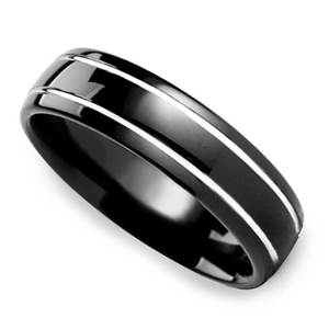Black Domed Men's Wedding Ring with White Groove in Tungsten