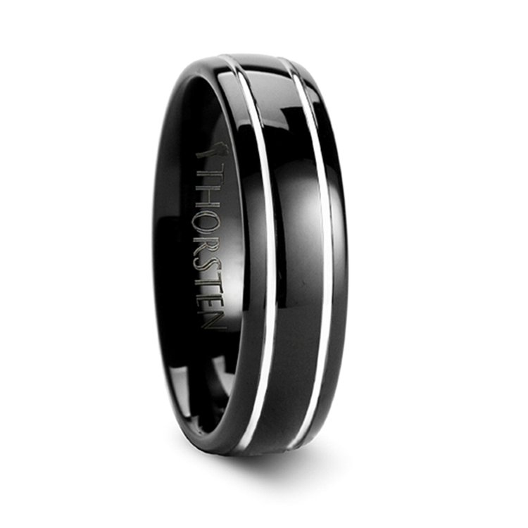 Black Domed Men's Wedding Ring with White Groove in Tungsten | 02