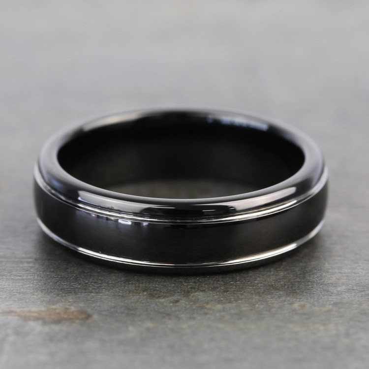 Black Domed Men's Wedding Ring with White Groove in Tungsten | 04