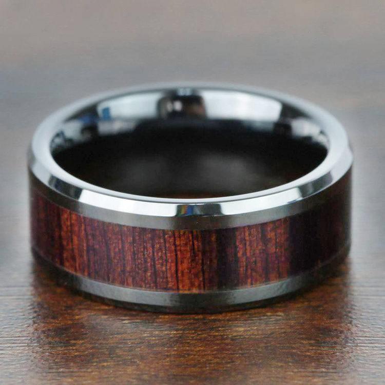 Black Ebony - Black Ceramic Mens Ring with Wood Inlay | 06