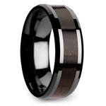 Black Ebony - Black Ceramic Mens Ring with Wood Inlay | Thumbnail 02