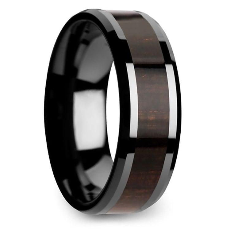 Black Ebony - Black Ceramic Mens Ring with Wood Inlay | 02