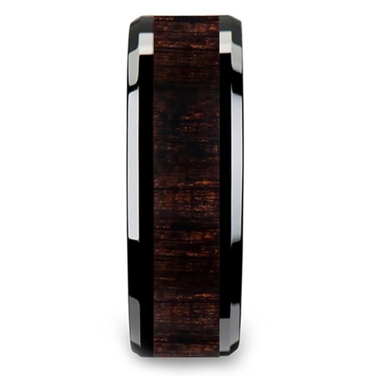 Black Ebony - Black Ceramic Mens Ring with Wood Inlay | 03