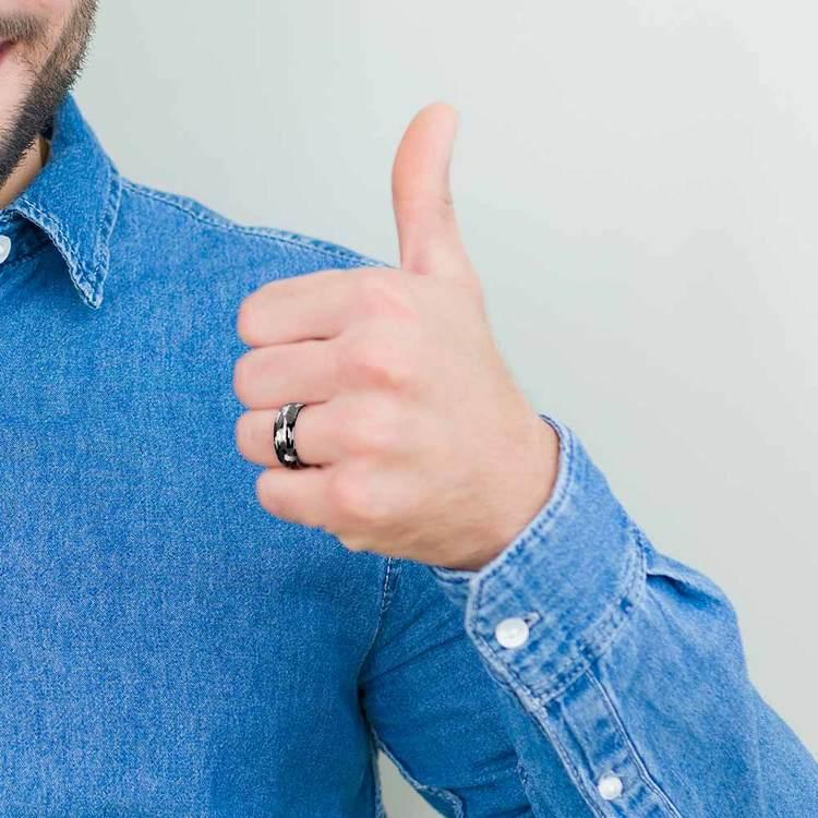 Black & Gray Camo Pattern Men's Wedding Ring in Tungsten | 05