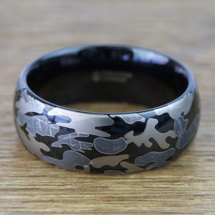 Black & Gray Camo Pattern Men's Wedding Ring in Tungsten | 04