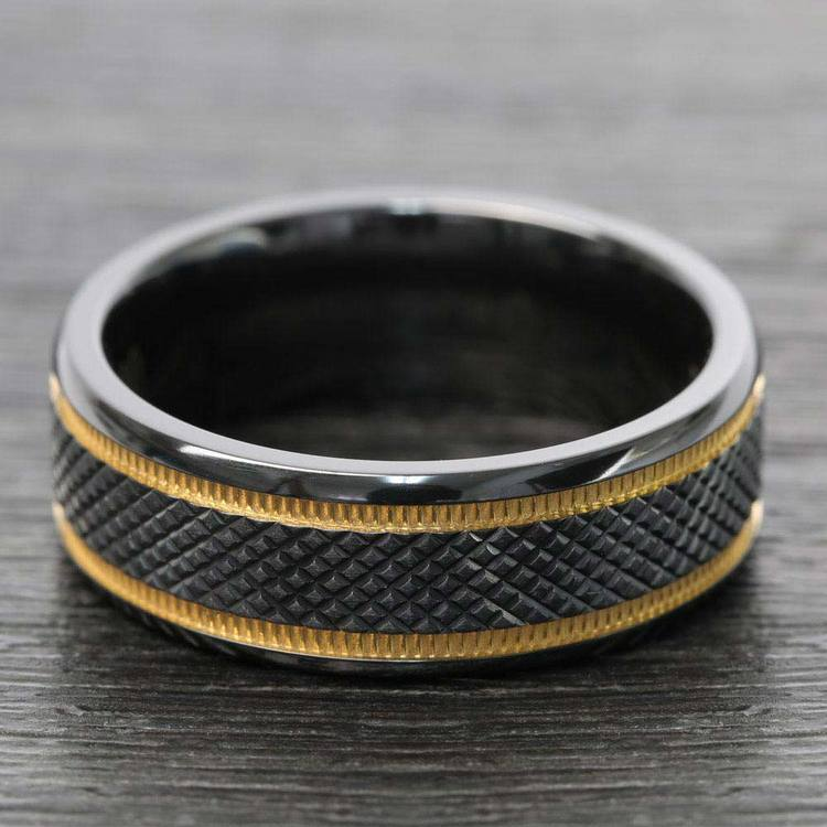 Black Mamba - Titanium Mens Wedding Ring with Gold Grooves | 05