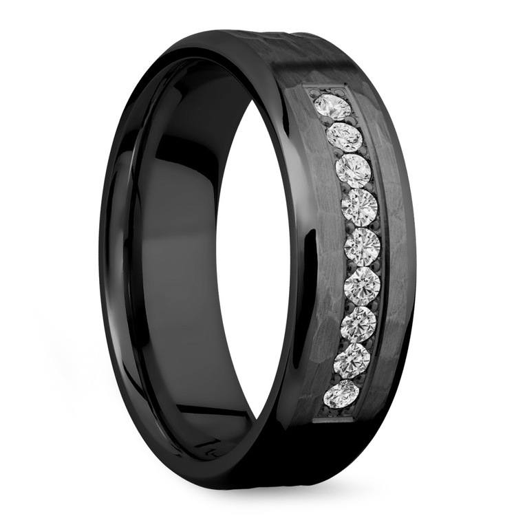Black Men's Wedding Band With 9 Diamonds - Zirconium | 02