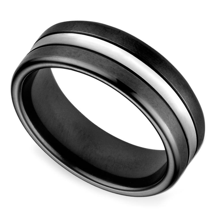 Black & Satin Men's Wedding Ring in Cobalt | 01
