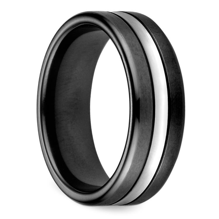 Black & Satin Men's Wedding Ring in Cobalt | 02