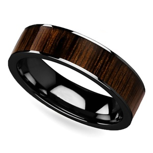black walnut wood inlay mens ring in black ceramic 6mm - Wooden Wedding Rings For Men
