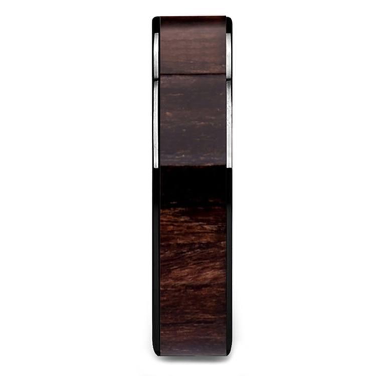 Black Walnut Wood Inlay Men's Ring in Black Ceramic (6mm) | 03