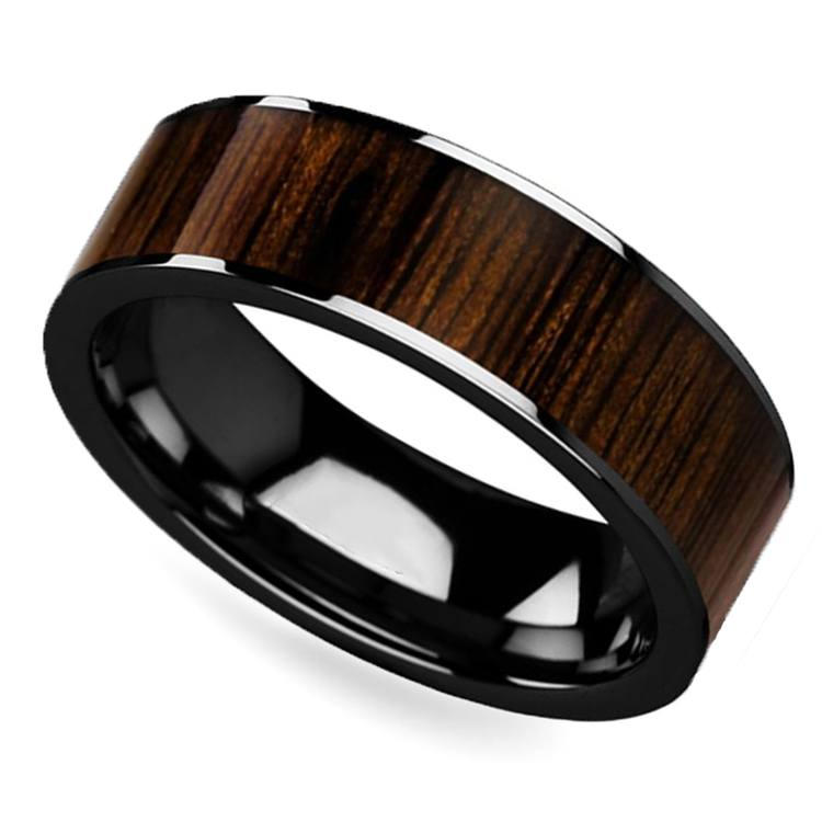 Deep Forest - 8mm Black Ceramic Mens Band with Black Walnut Inlay | 01